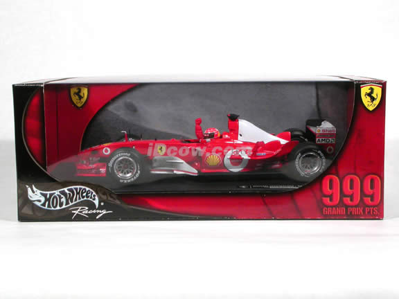 2003 Ferrari F-1 Formula One #1 Michael Schumacher 999 GP Points diecast model car 1:18 scale die cast by Hot Wheels