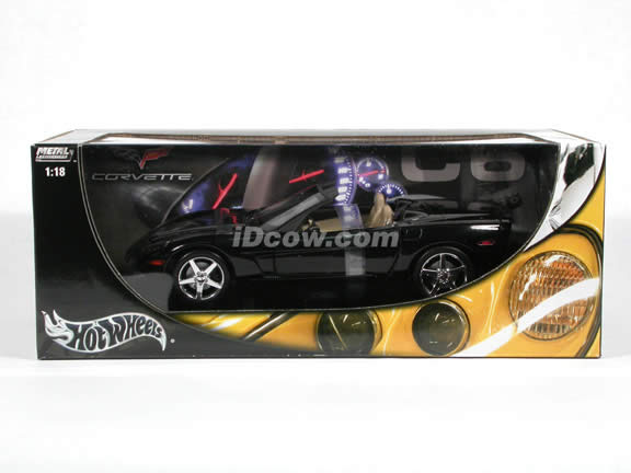 2005 Chevrolet C6 Corvette diecast model car 1:18 scale convertible by Hot Wheels - Black Convertible