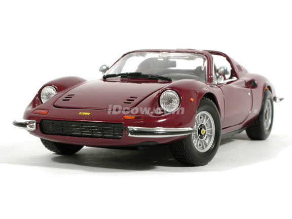 1970 Ferrari Dino 246 GTS diecast model car 1:18 scale die cast by Hot Wheels - Burgundy