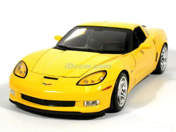 2006 Chevrolet Corvette Z06 diecast model car 1:18 scale diecast by Hot Wheels - Yellow