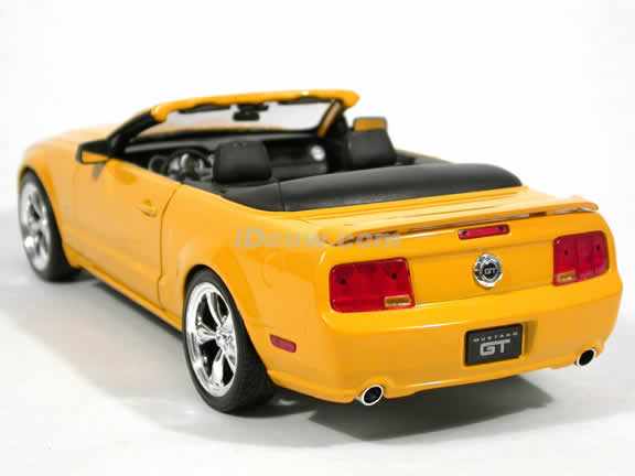 2005 Ford Mustang GT Convertible diecast model car 1:18 scale diecast by Hot Wheels - Yellow