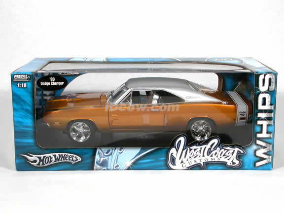 1969 Dodge Charger West Coast Customs diecast model car 1:18 scale diecast by Hot Wheels - Metallic Yellow