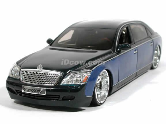 2005 Maybach 62 Dropstar diecast model car 1:18 scale diecast by Hot Wheels - Metallic Blue h2261