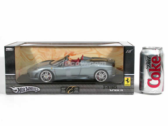 2006 Ferrari F430 diecast model car 1:18 scale spider by Hot Wheels - Grey Silver H3074 Spider