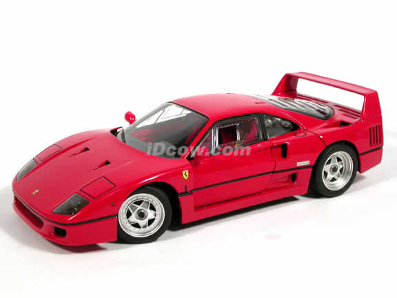 1989 Ferrari F40 diecast model car 1:18 scale die cast by Hot Wheels Elite - Red J2925