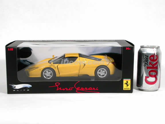 2002 Ferrari Enzo diecast model car 1:18 scale die cast by Hot Wheels Elite - Yellow Elite J2920