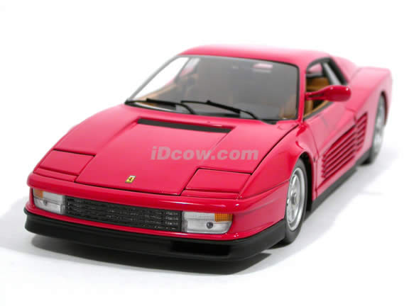 1984 Ferrari Testarossa diecast model car 1:18 scale die cast by Hot Wheels Elite - Red Elite J2927
