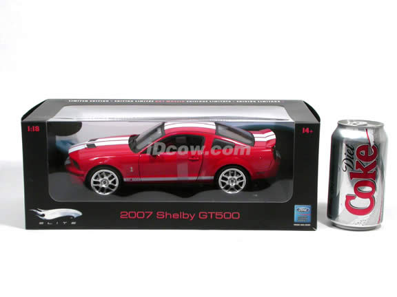 2007 Ford Mustang Shelby GT500 diecast model car 1:18 scale die cast by Hot Wheels Elite - Red Elite J2913