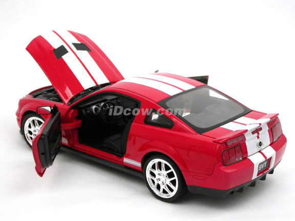 2007 Ford Mustang Shelby GT500 diecast model car 1:18 scale die cast by Hot Wheels - Red J2855