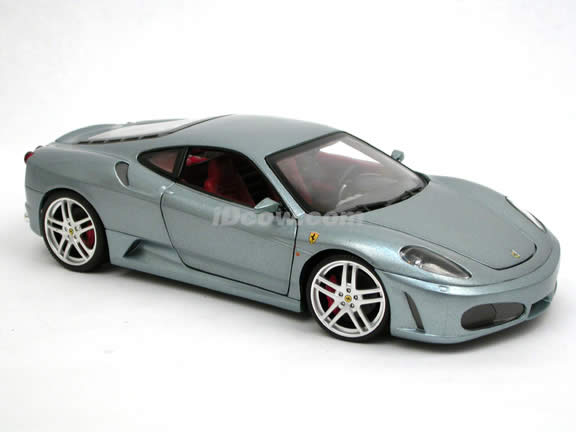 2006 Ferrari F430 diecast model car 1:18 scale diecast by Hot Wheels - Metallic Grey H3069