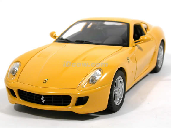 2007 Ferrari 599 GTB Fiorano diecast model car 1:18 scale die cast by Hot Wheels - Yellow J2874
