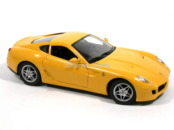 2007 Ferrari 599 GTB Fiorano diecast model car 1:18 scale die cast by Hot Wheels - Yellow J2874