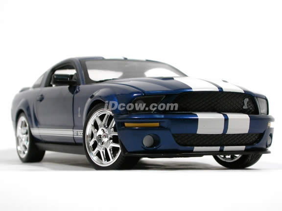 2007 Ford Mustang Shelby GT500 diecast model car 1:18 scale die cast by Hot Wheels - Blue J2867