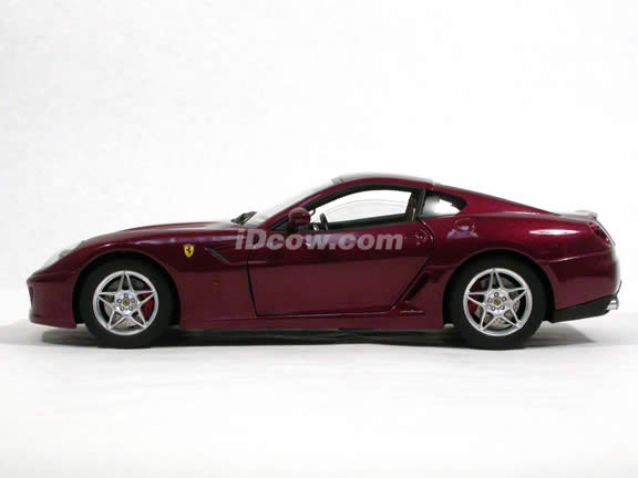 2007 Ferrari 599 GTB diecast model car 1:18 scale Fiorano by Hot Wheels Elite - Metallic Burgundy M1200