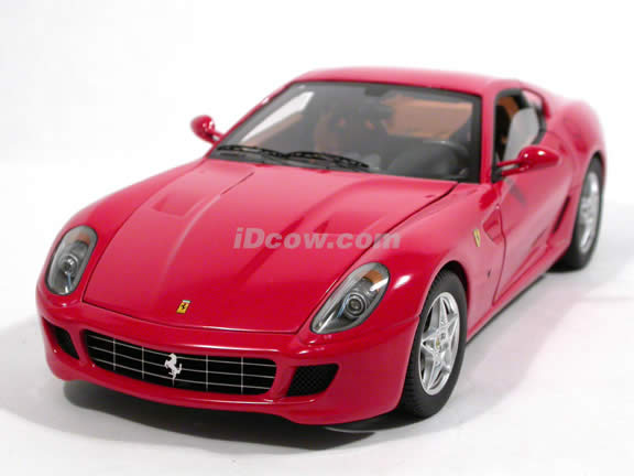 2006 Ferarri 599 GTB Fiorano diecast model car 1:18 scale die cast by Hot Wheels Super Elite - Red K4148