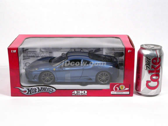 2008 Ferrari 430 Scuderia diecast model car 1:18 scale die cast by Hot Wheels - Blue L2951