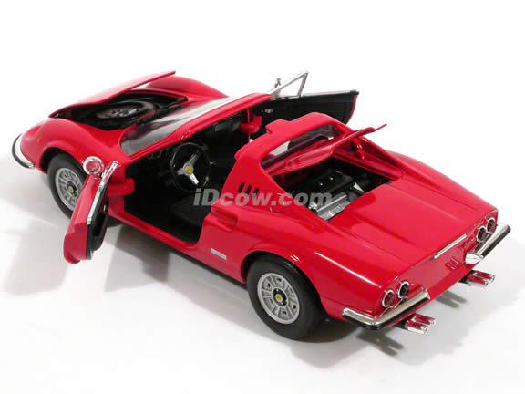1970 Ferrari Dino 246 GTS diecast model car 1:18 scale die cast by Hot Wheels - Red 54601