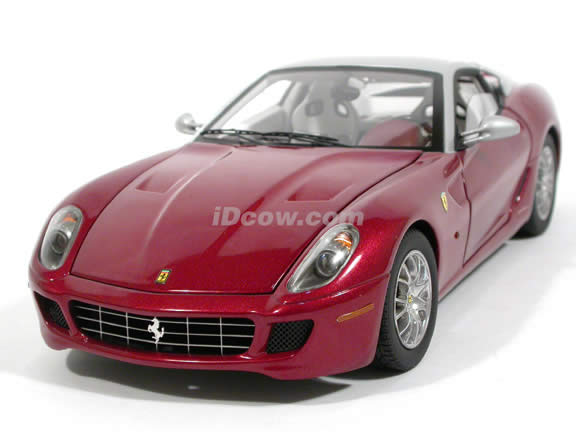 2008 Ferrari 599 GTB diecast model car 1:18 scale Fiorano by Hot Wheels Elite - Maroon Silver N2067