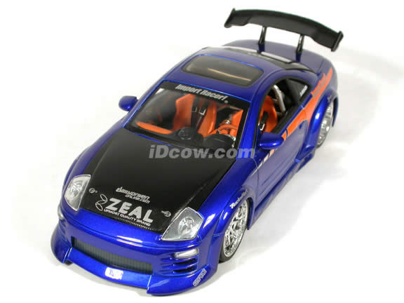 2003 Mitsubishi Eclipse diecast model car 1:18 scale from Import Racer Jada Toys - Candy Purple