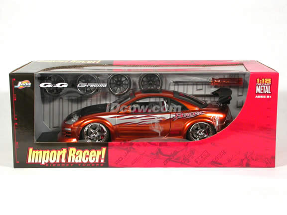 2003 Mitsubishi Eclipse diecast model car 1:18 scale from Import Racer Jada Toys - Orange