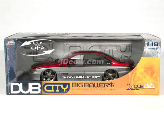 1996 Chevy Impala SS diecast model car 1:18 scale from Dub City Jada Toys - Metallic Red & Silver