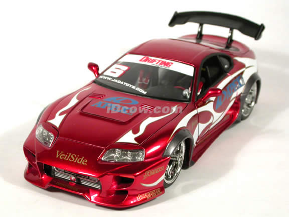 1995 Toyota Supra diecast model car 1:18 scale from Import Racer Jada Toys - Red