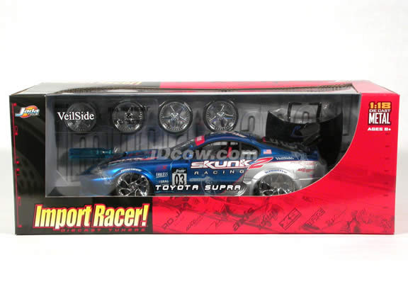 1995 Toyota Supra diecast model car 1:18 scale from Import Racer Jada Toys - Blue