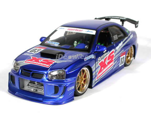 2004 Subaru WRX STi diecast model car 1:18 scale die cast from Import Racer Jada Toys - Candy Blue Purple
