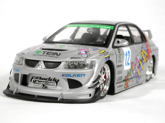 2004 Mitsubishi Lancer Evolution VIII #12 diecast model car 1:18 scale die cast from Import Racer Jada Toys - Silver