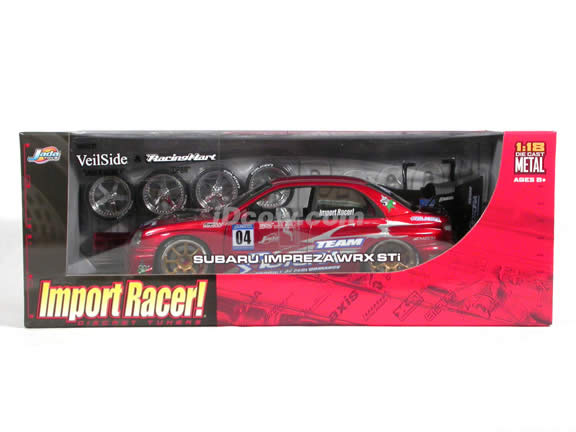 2004 Subaru Impreza WRX Sti diecast model car 1:18 scale die cast from Import Racer Jada Toys - Red Metallic
