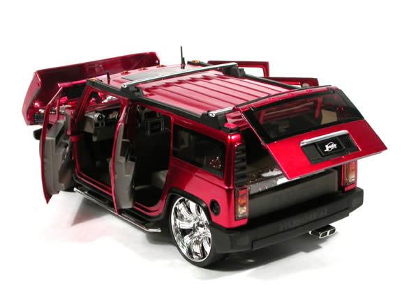 2004 Hummer H2 diecast model SUV with Spintek EVO-H Wheels 1:18 scale die cast from Dub City Jada Toys - Candy Apple Red