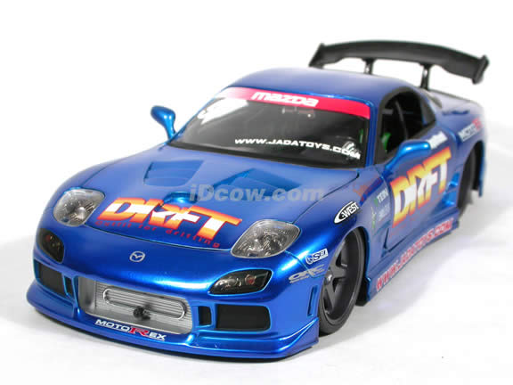 1994 Mazda RX-7 diecast model car with Wheels by RO_JA & VOLK 1:18 scale die cast from Import Racer Jada Toys - Blue