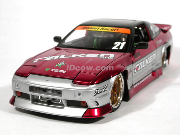 1990 Nissan 240SX diecast model car 1:18 scale die cast from Import Racer Jada Toys - Metallic Red and Grey Middle