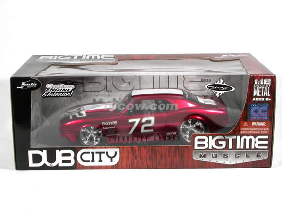1968 Chevrolet Camaro diecast model car 1:18 scale die cast from Dub City BigTime Muscle Jada Toys - Candy Red