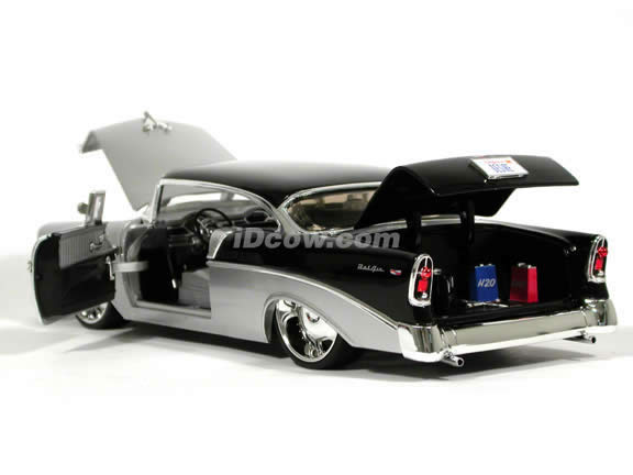 1956 Chevrolet Bel Air 2 Door Hardtop diecast model car 1:18 scale die cast by Jada Toys - Silver Black