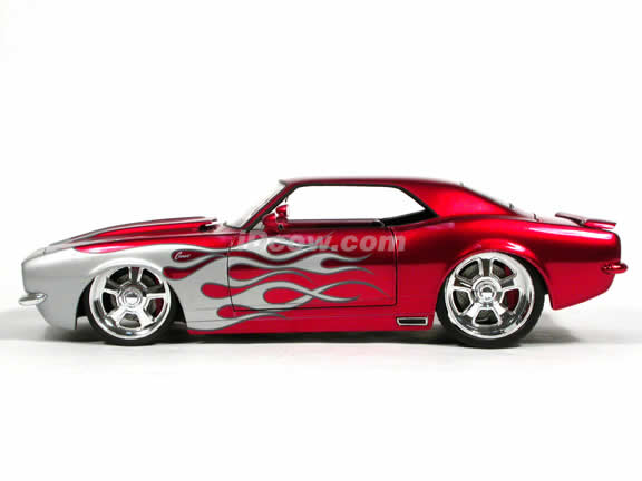 1968 Chevrolet Camaro diecast model car 1:18 scale die cast from Dub City BigTime Muscle Jada Toys - Silver Flame Red