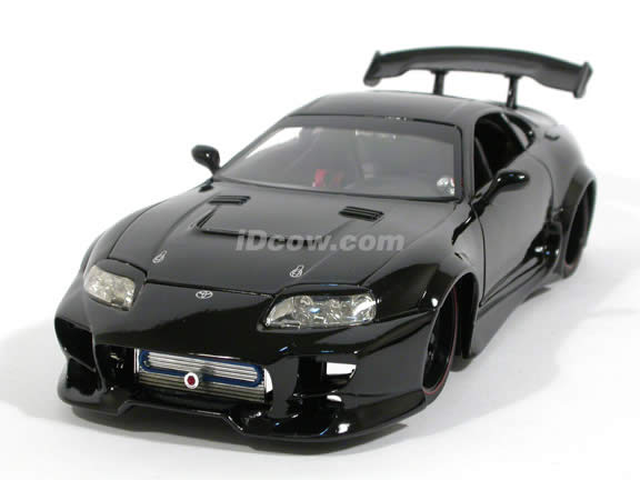 1995 Toyota Supra diecast model car 1:18 scale die cast by Jada Toys - Dub City Black 91639