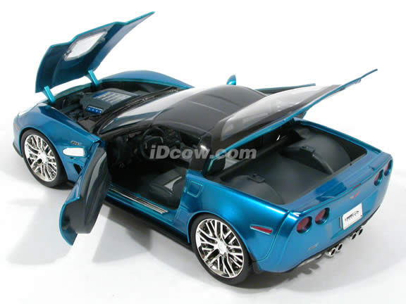 2009 Chevrolet Corvette ZR1 diecast model car 1:18 scale die cast by Jada Toys - Metallic Blue 92025