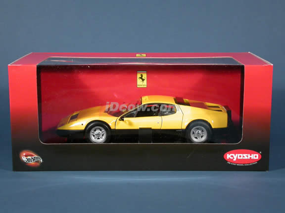 Ferrari 365 GT4/BB diecast model car 1:18 scale die cast from Kyosho - Yellow