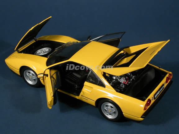 1988 Ferrari 328 GTB diecast model car 1:18 scale die cast from Kyosho - Yellow