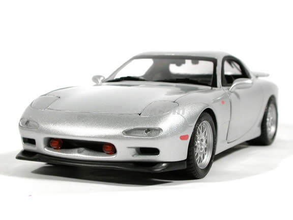 1995 Mazda RX-7 diecast model car 1:18 scale die cast from Kyosho - Silver (Japanese Version)