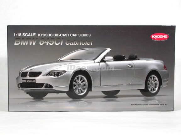 2004 BMW 645Ci Cabriolet diecast model car 1:18 scale die cast from Kyosho - Silver