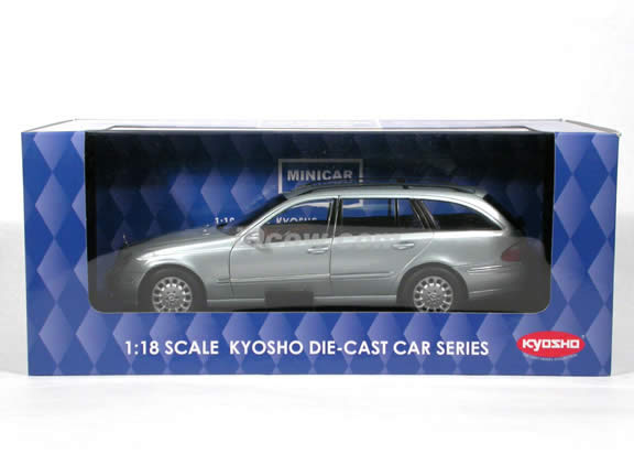 2004 Mercedes Benz E-Class Wagon diecast model car 1:18 scale die cast from Kyosho - Silver