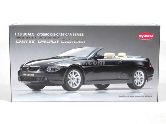 2004 BMW 645Ci Cabriolet diecast model car 1:18 scale die cast from Kyosho - Black