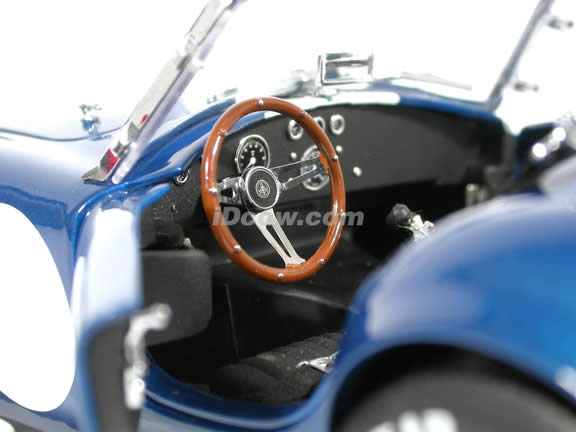 1964 Shelby Cobra 427 S/C diecast model car 1:18 scale die cast from Kyosho - Blue with White Stripes