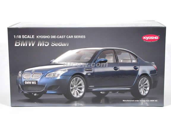 2006 BMW M5 diecast model car 1:18 scale die cast from Kyosho - Blue