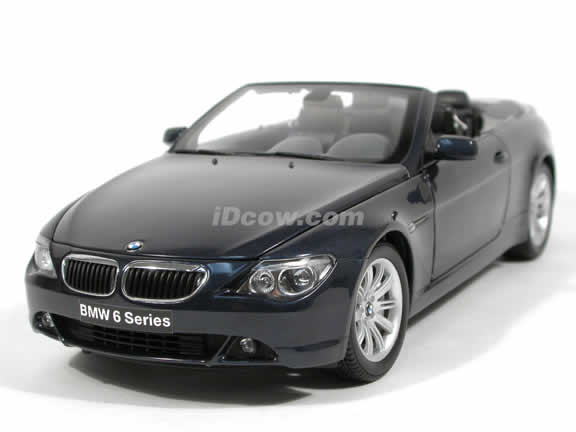 2004 BMW 645Ci Convertible diecast model car 1:18 scale die cast from Kyosho - Blue