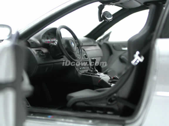 2003 BMW M3 GTR diecast model car 1:18 scale die cast from Kyosho - Silver Grey 08507S