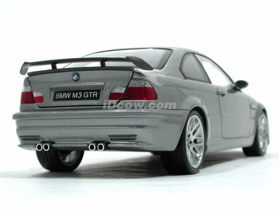 2003 BMW M3 GTR diecast model car 1:18 scale die cast from Kyosho - Silver Grey 08507S
