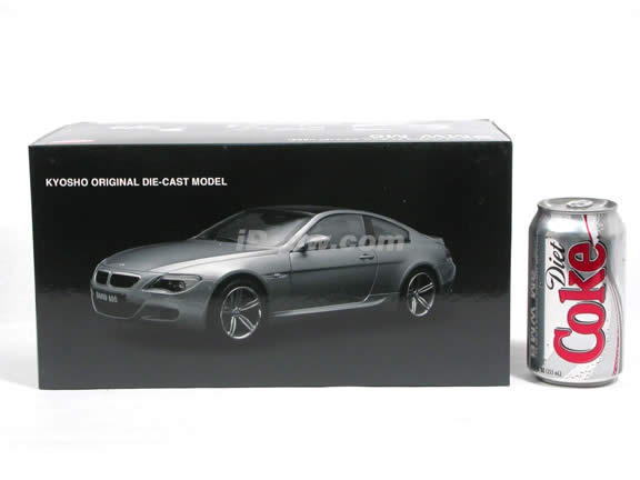 2007 BMW M6 diecast model car 1:18 scale die cast from Kyosho - Metallic Grey 08703GR